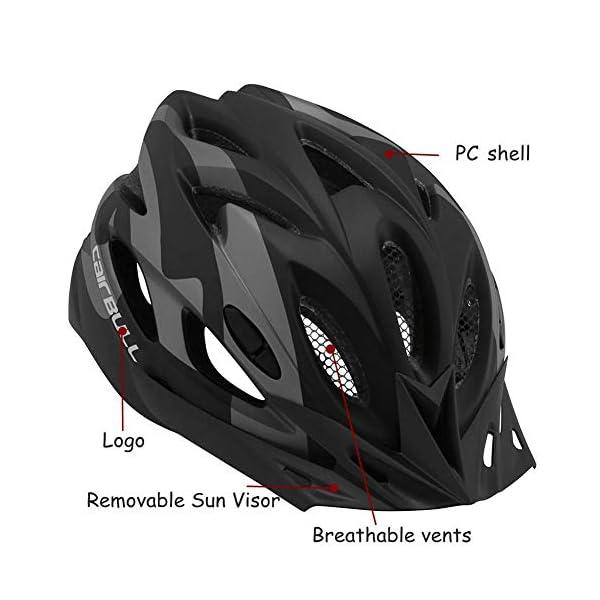 earlyad Casco per Bicicletta Protezione di Ciclismo sicura Regolabile Ventilazione del Casco Copricapo da Motociclista con luci per Casco da Bici per Adulti 4 spesavip