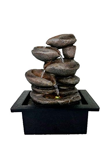 Cascading Stone Bowls Spring Indoor Water Fountain with LED Light | Size 21 * 17.5 * 25 Cm | 3 Pin UK Plug Included |