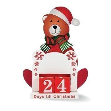 Days Till Christmas Uk.Days Till Christmas Countdown Calendar Wooden Santa Bear