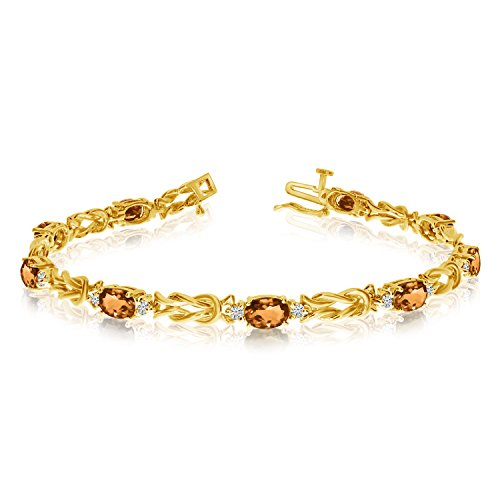 14k Yellow Gold Natural Citrine And Diamond Tennis Bracelet (9 Inch Length)