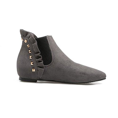 ... YE Damen Flache Chelsea Boots Ankle Boots Stiefeletten mit Nieten  Bequem Modern Schuhe Grau ... e43c86b7e0