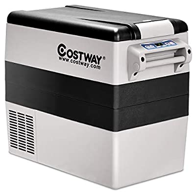 Costway 54 Quart Portable Refrigerator/Freezer Compact Vehicle Car Mini Fridge Electric Cooler for Truck Party, Travel, Picnic Outdoor, Camping