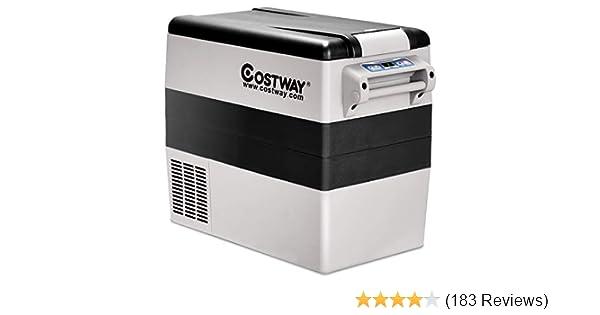 Costway 54 Quart Portable Refrigerator Freezer Compact Vehicle Car Mini Fridge Electric Cooler For Truck Party Travel Picnic Outdoor