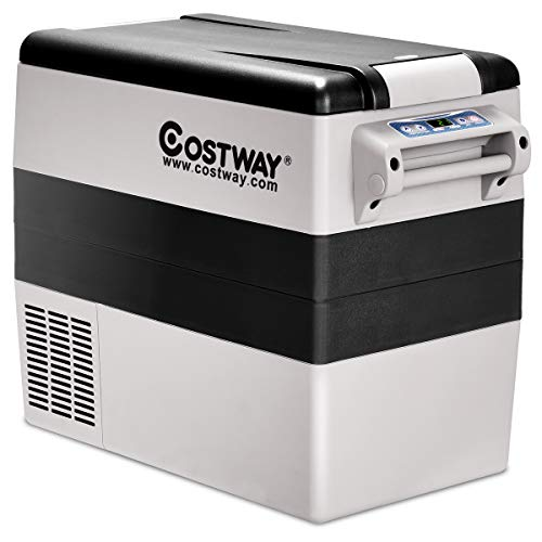 COSTWAY Car Freezer, 54 Quart Compressor Travel RV Refrigerator -4°F to 50°F, Portable and Compact Electric Vehicle 12V/24V Car Cooler Fridge, For Car, Home, Camping, Truck Party (Black and Grey)
