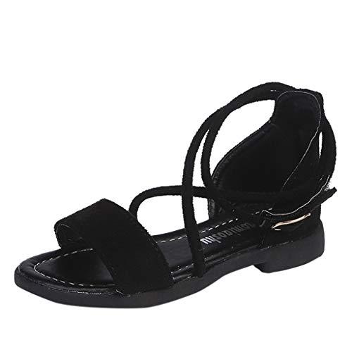 (Tantisy ♣↭♣ Girls Cross-Tied Sandals  Summer Bohemia Cute Flock Princess Shoes Beach Sandals Single Shoes for Big Kid Black)