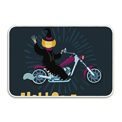 Niaocpwy Pumpkin Man Ride Bicycle in Halloween Welcome Carpet Non-Slip Floor Rugs Mat for Outdoor/Bath/Toilet/Living Room/Dining Room/Playroom,Doormat Size 16 x 24 inch