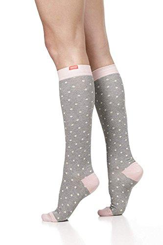 VIM&VIGR Womens 15-20 mmHg Compression Socks: Petite Dot - Heather Grey & Dusty Pink (Cotton) (Medium)