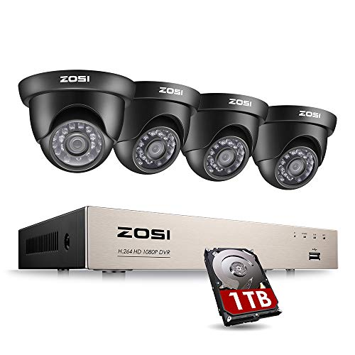 ZOSI 8CH 1080P Video Security DVR System and (4) HD 2.0MP 1920TVL Surveillance Indoor Outdoor CCTV Cameras with 65ft Night Vision, 1TB Hard Drive, ,Motion Alert, Smartphone, PC Easy Remote Access
