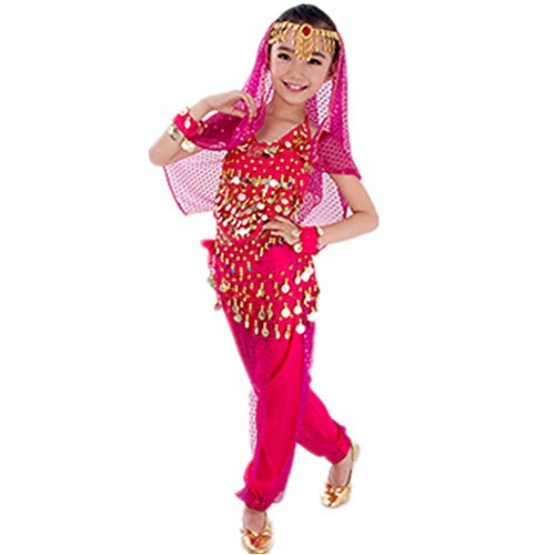 [WILLLIN Handmade Children Belly Dance Costumes Kids Dancing Girls Bollywood Performance Cloth (L, Rose] (Bollywood Costume Party)