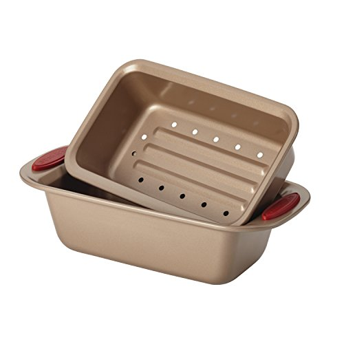 Rachael Ray Cucina Nonstick Bakeware 10-Piece Set, Latte Brown with Cranberry Red Handle Grips by Rachael Ray (Image #2)
