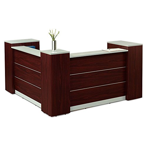 Reception Desk with Lockable Storage - 87''W Mahogany Panels/Silver Gray Laminate Tops Dimensions: 84''W x 87''D x 46''H Weight: 449 lbs.Dimensions by NBF Signature Series