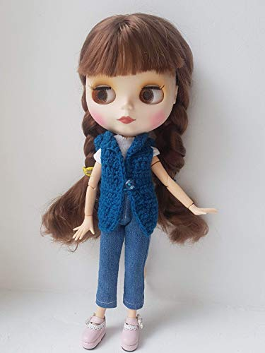 Blythe blue cardigan, Turquoise vest for Neo Blythe or Licca dolls, Hand-knitted hoodie jacket