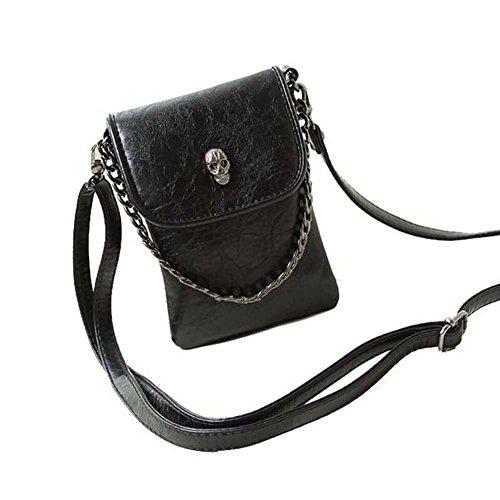Jiaruo Women Girls Studded Skull Gothic Crossbody Shoulder Bag Travel Leather Handbag Cellphone Purse (Black) (Skull Gothic Bag)