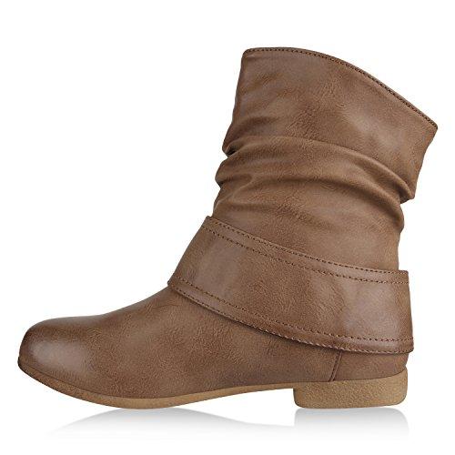 af322738f76b Stiefelparadies Damen Schlupfstiefel Wildleder-Optik Stiefel Schnallen  Schuhe Boots Gefütterte Stiefeletten Flandell Khaki Schnallen ...