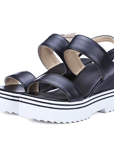 ShangYi Womens Shoes Wedge Heel Wedges Sandals Dress / Casual Black / White Black
