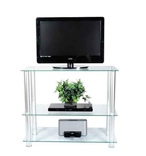 RTA Home and Office TVM-0042 Glass and Aluminum Extra Tall Wall Unit TV Stand for a 42
