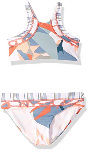 (Maaji Little Girls' High Neck with Lace Up Back Bikini Swimsuit Set, Mercurial Pearl White Stripe Geo, 04)