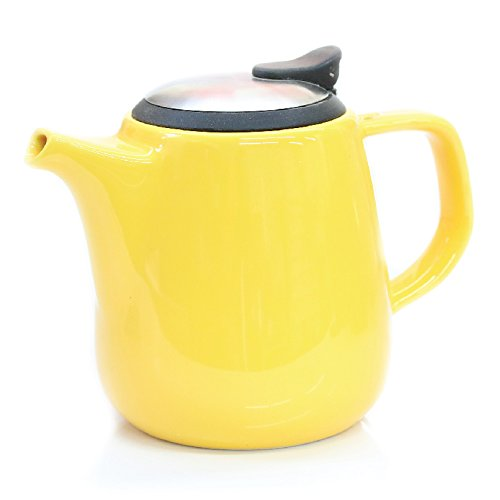 Tealyra Daze Ceramic Teapot with Stainless Steel Lid and Infuser, 700ml / 24 oz - Yellow