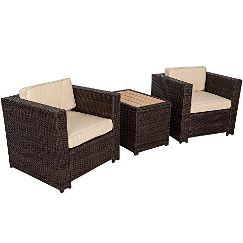 Sundale Outdoor 3 Piece Aluminum Wicker Chat Set - All Weather Chat Group with - 3 Resin Piece Wicker