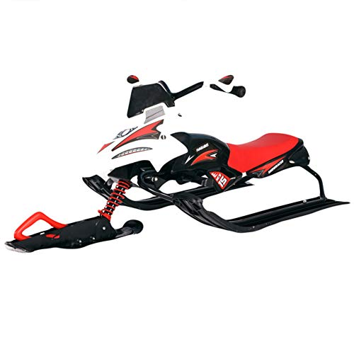 (Snow sled Heavy Duty, Durable Metal Racer Snow Sledge with Brakes Steering Wheel Pull Rope for Kid & Adult-C )