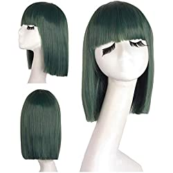 Short Straight Synthetic Wigs With Bangs 14 Inch Dark Green Cosplay Wig Heat Resistant Halloween Female Hair Pieces T1B/613 14inches