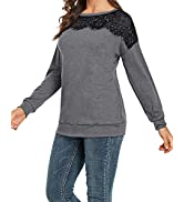 CALOER Womens Solid Lace Blouses Tops Long Sleeve Lace Trim Round Neck Tunic Henley Tops with But...