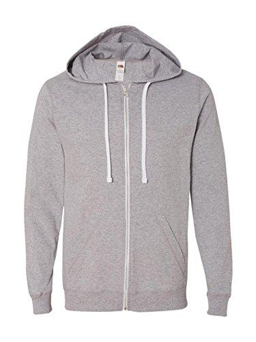 Grey Full Zip Sweater - Fruit of the Loom Men's Jersey Full-Zip Hood, Heather Grey, Large