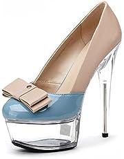 15CM High Heels Mode Stiletto Sandalen Plattformschnalle Pumps Gericht Schuhe-Blue  36