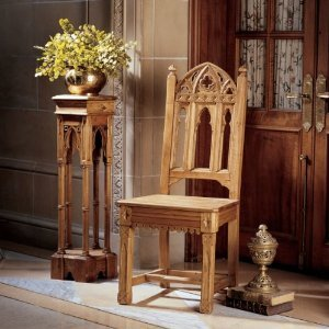 Cheap Hand-Carved Solid Pine Gothic Side Chair