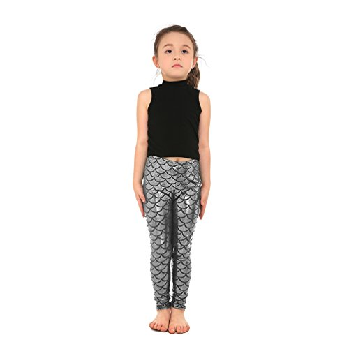 (Lesubuy Shiny Silver Fish Scale Pattern Mermaid Girls Leggings Pants X-Large)