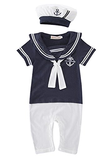 Anchor Short Navy Sailor (MAXIMGR Infant Baby Toddler Anchor Sailor Stripe Romper Marine Navy Romper Onesie Outfit Size 12-18 Months/Tag95 (Dark Blue))