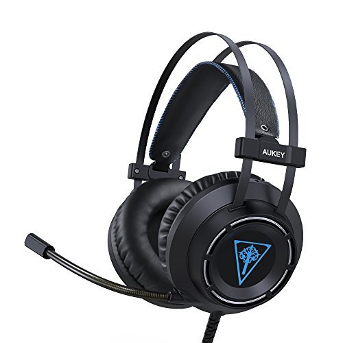 AUKEY Gaming Headset, On-Ear Headphones with Enhanced Bass, Flexible Microphone, Self-Adjusting Headband, and LED Light for PC, PS4, and Xbox