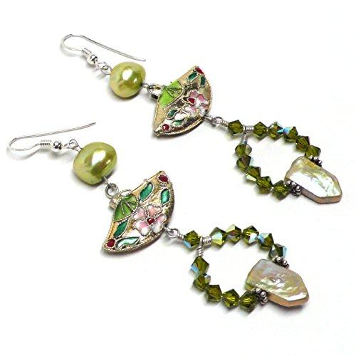- Golden Cloisonne Fan Olivine Crystal Statement Earrings Sterling Silver