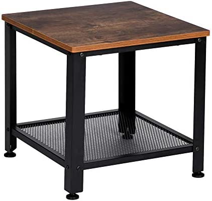 Knocbel Industrial Square End Table Sofa Couch Side Snack Table with Mesh Storage Shelf, Metal Frame Adjustable Feet, 44 LBS Capacity, 18 L x 18 W x 17.72 H Rustic Brown and Matte Black