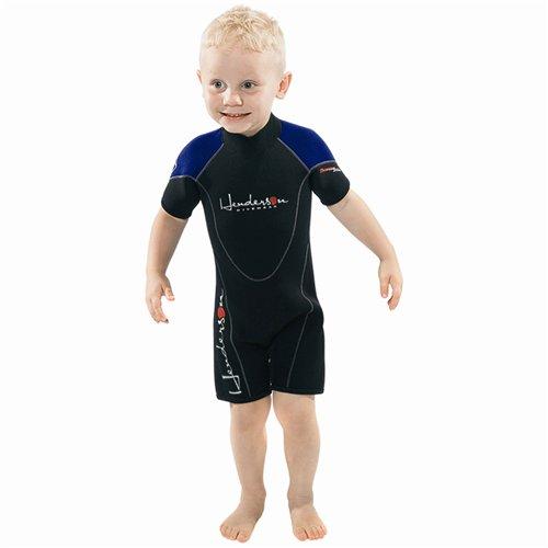 (Henderson Child Thermoprene 3mm Shorty Scuba Diving Wetsuit-Black / Blue-8)