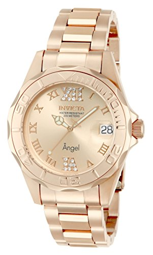 Invicta Women's 14398 Angel Analog Swiss-Quartz Rose Gold Watch (Watches Invicta Women Gold)