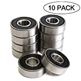 608RS 8 x 22 x 7 mm Deep Groove Ball Bearing, 10 Pcs 608 2RS, Double Black Rubber Sealed Ball Bearings, Fit for Skateboard Bearings, 3D Printer RepRap Wheel, Roller Skates, Inline Skates (Pack of 10): more info