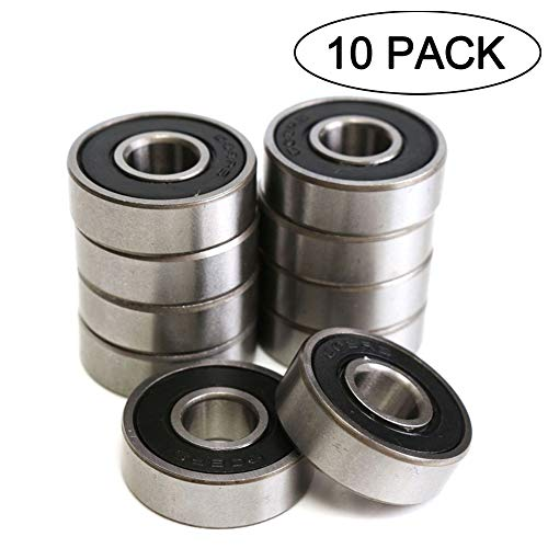 608RS 8 x 22 x 7 mm Deep Groove Ball Bearing, 10 Pcs 608 2RS, Double Black Rubber Sealed Ball Bearings, Fit for Skateboard Bearings, 3D Printer RepRap Wheel, Roller ()