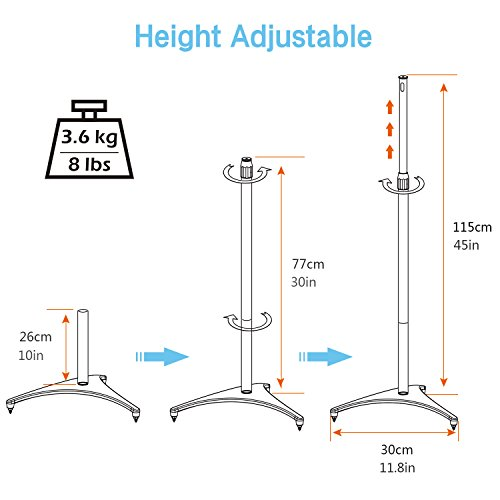 """PERLESMITH Stands-Extends 30"""" 45""""- Hold Satellite & Speakers Weight 8lbs-Heavy Floor Stands for Surround Pair"""