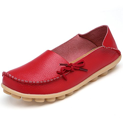 Fantiny Women's Genuine Leather Loafers Casual Moccasin Driving Shoes Indoor Flat Slip-On SlippersMMX1-Red-42