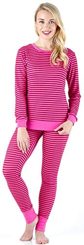 Sleepyheads Women's Sleepwear Long Sleeve Soft & Cozy Striped Knit 2-Piece Pajama Set, Light Raspberry & Pink Stripe (SH1138-5023-MED) ()