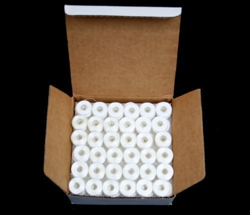 144 White PreWound Bobbins for Embroidery Machines Size A (SA156) (Plastic Sided Bobbins)