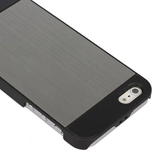 Stilvoll Strapazierfähig Gebürstes Metall Hart Hülle Cover Für Apple iPhone 5s / Apple iPhone 5 - inklusive Displayschutzfolie & Stylus Touch Stift von Madcase - Schwarz Stoßstange & Waffenmetall Grau