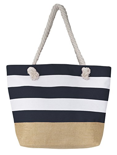 Leisureland Canvas Tote Beach Bag, Water Resistant Shoulder Tote Bag (L20''xH15''xW6'', Stripe Navy Blue) by Leisureland
