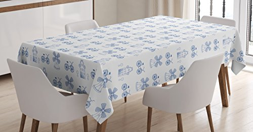 Ambesonne Bicycle Tablecloth, Dutch Ornament Drawings in Blue Windmill Narrow House Bicycle Topiary Tree, Dining Room Kitchen Rectangular Table Cover, 60 W X 84 L inches, Night Blue