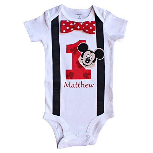 Perfect Pairz Baby Boys 1st Birthday Outfit Mickey Mouse Bodysuit -