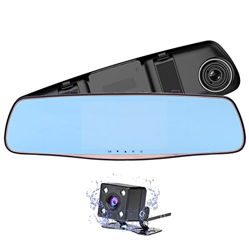"""Nesolo Full HD 1080P Car Dash Cam 170° Wide Angle 5"""" IPS Screen Rearview Mirror Dashboard Camera DVR Video Recorder Dual Lens with HDR Night Vision,Loop Recording, Parking Mode, G-Sensor"""
