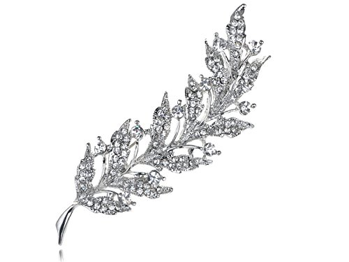 (Alilang Feather Leaf Clear Crystal Rhinestone Sliver Tone Holiday Pin Brooch)