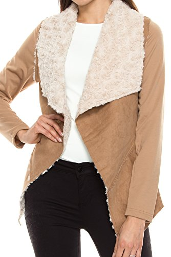 KAYLYN KAYDEN KLKD B005 Women's Long Sleeve Faux Fur Suede Shearling Jacket Camel (Fold Over Collar Coat)