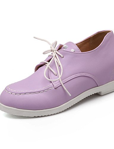 ZQ Zapatos de mujer - Tacón Cuña - Punta Redonda - Oxfords - Oficina y Trabajo / Vestido - Semicuero - Negro / Rosa / Morado / Blanco , purple-us10.5 / eu42 / uk8.5 / cn43 , purple-us10.5 / eu42 / uk8 white-us5.5 / eu36 / uk3.5 / cn35